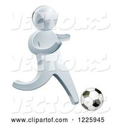 Vector of 3d Silver Guy Playing Soccer by AtStockIllustration