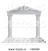 Vector of 3d White Ancient Roman or Greek Temple with Pillars Frame by AtStockIllustration