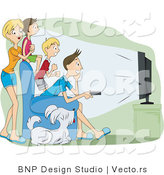 Vector of 4 Family Members and Their Dog Watching Television in a Theater Room by BNP Design Studio