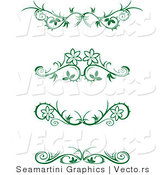 Vector of 4 Green Floral Border Designs - Digital Collage by Vector Tradition SM