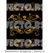 Vector of 4 Unique Golden Flourish Border Rules over Dark Background - Digital Collage by Vector Tradition SM