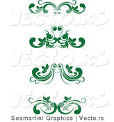 Vector of 4 Unique Green Flourish Borders - Digital Collage by Vector Tradition SM