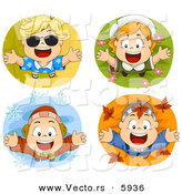 Vector of 4 Unique Happy Seasonal Kids - Cartoon Styled Digital Collage by BNP Design Studio