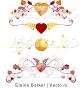Vector of 4 Unique Red and Gold Floral Heart Borders - Digital Collage by Elaineitalia