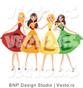 Vector of 4 Young Girls Wearing SALE Dresses by BNP Design Studio