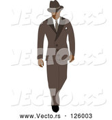 Vector of 40s Styled Black Business Man Walking in a Blue Suit by Pams Clipart