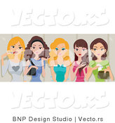 Vector of 5 Pretty Girls Talking While Applying Makeup in a Restroom by BNP Design Studio