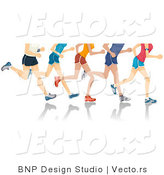 Vector of 5 Sets of Runners Legs Running by BNP Design Studio