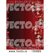 Vector of 5 Sparkling Red Christmas Disco Ball Ornaments Suspended over a Gradient Red Background by Elaineitalia
