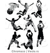 Vector of 7 Unique Male Basketball Player - Silhouette by Chromaco