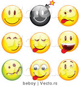 Vector of 9 Smileys; Happy, Bomb, Goofy, Teasing, Sick, and Winking by Beboy