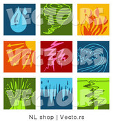Vector of 9 Weather Icons: Rain, Tornado, Fires, Sunny, Lightning, Tsunami, Volcano, Flood, and Earthquake by NL Shop
