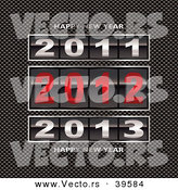 Vector of a 2011, 2012 and 2013 Counter with Happy New Year Text on Carbon Fiber Background by Michaeltravers