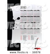 Vector of a 2013 Calendar with a Feather Quil and Ink by Leonid