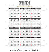 Vector of a 2013 Calendar with Pencil Designs by Leonid