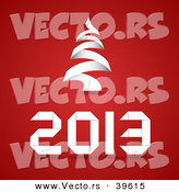 Vector of a 2013 Christmas Background Design Featuring a White Tree over Red by Vectorace