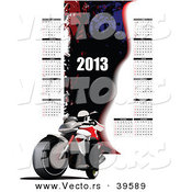 Vector of a 2013 Motorcycle Calendar with All 12 Months by Leonid