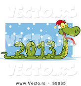 Vector of a 2013 Snake Wearing a Santa Hat by Hit Toon