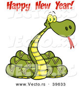 Vector of a 2013 Snake with Happy New Year! Text by Hit Toon