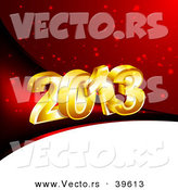 Vector of a 3d Golden 2013 over Red and White Christmas Background by Vectorace