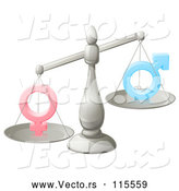 Vector of a 3d Silver Scale Balancing Human Gender Symbols by AtStockIllustration