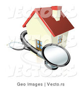 Vector of a 3d Stethoscope Wrapped Around Sick House by AtStockIllustration