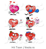 Vector of a 6 Cartoon Heart Characters in Different Poses by Hit Toon