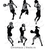 Vector of a 6 Unique Female Basketball Player - Silhouettes by Chromaco