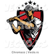Vector of a 7 Star Baseball Player Athlete Holding a Bat Within a Red Badge by Chromaco