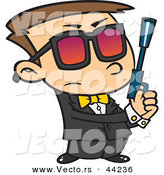 Vector of a Agent Cartoon Boy Holding a Pistol by Ron Leishman