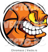 Vector of a Aggressive Basketball Mascot Gritting His Teeth by Chromaco