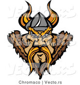 Vector of a Aggressive Viking Warrior Staring with Intimidating Eyes by Chromaco