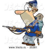 Vector of a Alert Cartoon Union Soldier Pointing a Rifle While Looking Somewhat Scared by Ron Leishman