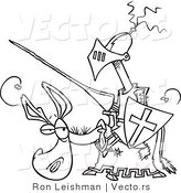 Vector of a Amateur Cartoon Knight on a Donkey - Coloring Page by Toonaday