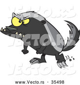 Vector of a Angry Cartoon Honey Badger Ready to Fight by Toonaday