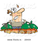 Vector of a Angry Cartoon Man Watching Another Leaf Fall on His Piles and Bags of Raked Autumn Leafs by Toonaday