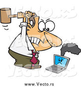 Vector of a Angry Caucasian Businessman Whacking a Broken Laptop with a Mallet by Ron Leishman