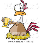 Vector of a Award Winning Cartoon Chicken Holding a Trophy by Toonaday