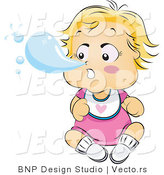Vector of a Baby Blowing Huge Snot Bubble out of Nose by BNP Design Studio