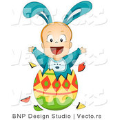 Vector of a Baby Boy Bunny Jumping out of Easter Egg by BNP Design Studio