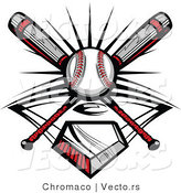 Vector of a Ball and 2 Baseball Bats Crossed over Home Plate by Chromaco