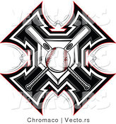 Vector of a Ball Centered over 2 Crossed Baseball Bats and Home Plate by Chromaco