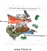Vector of a Bank Robber Running with Money, Bullets Flying past by Ron Leishman