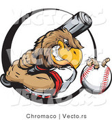 Vector of a Baseball Eagle Mascot Swinging Bat at Earthworm in Ball by Chromaco
