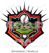 Vector of a Baseball Field and Ball Withing Home Plate Icon Outline with Flaming Red by Chromaco