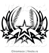 Vector of a Baseball Lotus with 4 Stars - Black and White by Chromaco