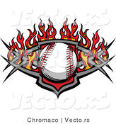 Vector of a Baseball over a Tribal Shield Plate with Flames by Chromaco
