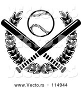 Vector of a Baseball over Crossed Bats and a Laurel Wreath - Black and White by Vector Tradition SM