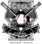 Vector of a Baseball over Two Crossed Bats over a Plate with Banner by Chromaco