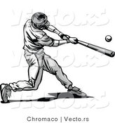 Vector of a Baseball Player Hitting Ball with Bat - Grayscale by Chromaco